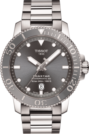 Herrenuhr Tissot Seastar 1000 Powermatic 80 mit grauem Zifferblatt und Edelstahlarmband