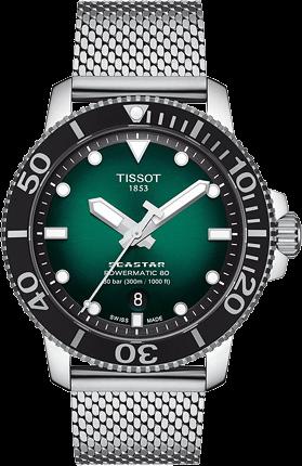 Herrenuhr Tissot Seastar 1000 Powermatic 80 mit grünem Zifferblatt und Edelstahlarmband