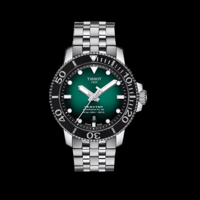Herrenuhr Tissot Seastar 1000 Powermatic 80 mit grünem Zifferblatt und Edelstahlarmband bei Brogle