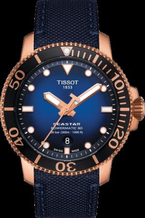 Herrenuhr Tissot Seastar 1000 Powermatic 80 mit blauem Zifferblatt und Textilarmband