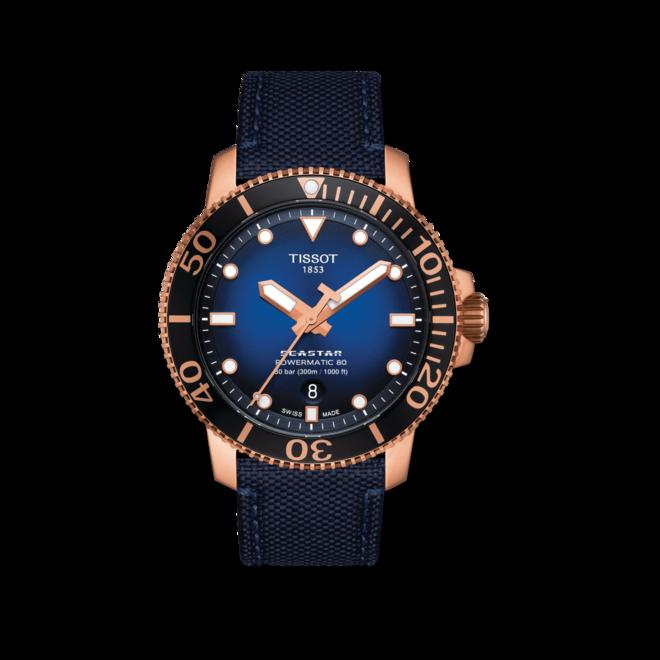 Herrenuhr Tissot Seastar 1000 Powermatic 80 mit blauem Zifferblatt und Textilarmband bei Brogle