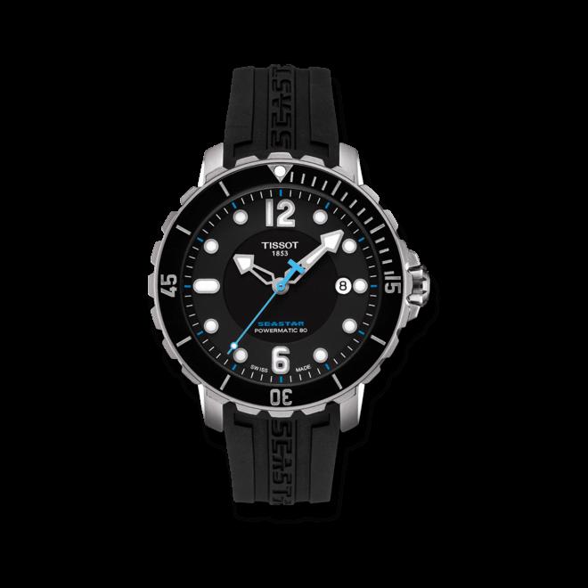 Herrenuhr Tissot Seastar 1000 Powermatic mit schwarzem Zifferblatt und Kautschukarmband