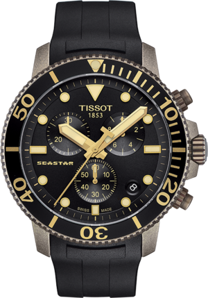Herrenuhr Tissot Seastar 1000 Quartz Chronograph mit schwarzem Zifferblatt und Kautschukarmband