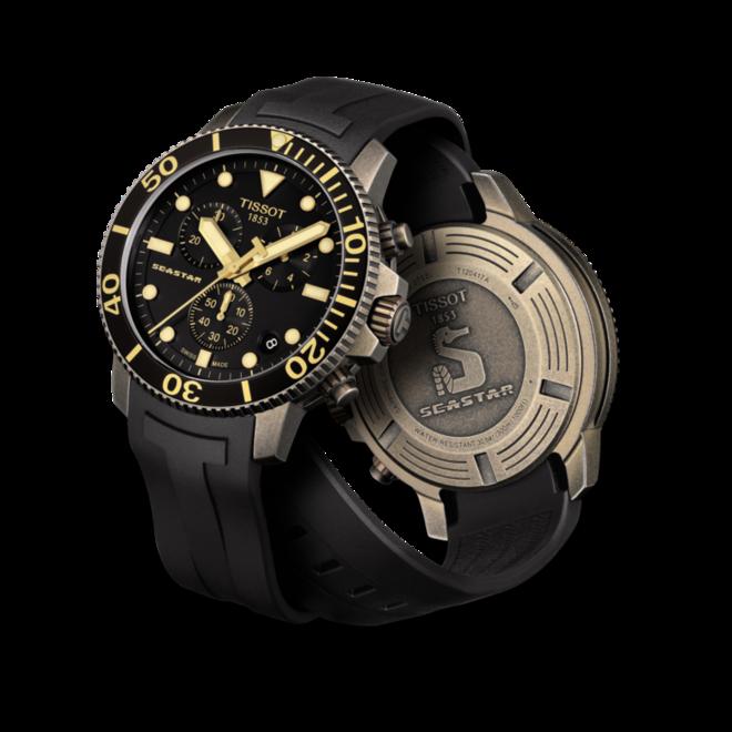Herrenuhr Tissot Seastar 1000 Quartz Chronograph mit schwarzem Zifferblatt und Kautschukarmband bei Brogle
