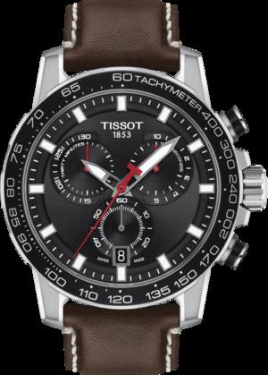Herrenuhr Tissot Supersport Chrono mit schwarzem Zifferblatt und Rindsleder-Armband