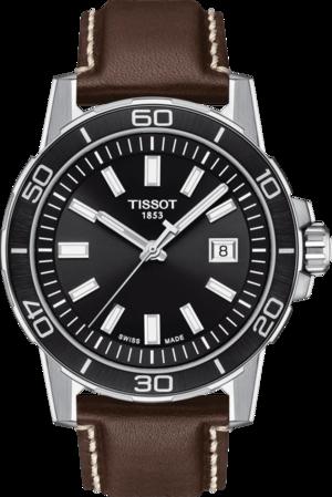 Herrenuhr Tissot Supersport Gent mit schwarzem Zifferblatt und Rindsleder-Armband