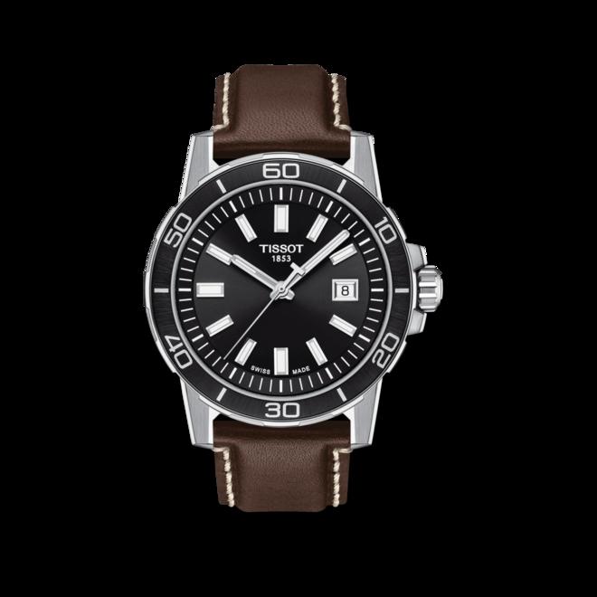 Herrenuhr Tissot Supersport Gent mit schwarzem Zifferblatt und Rindsleder-Armband bei Brogle
