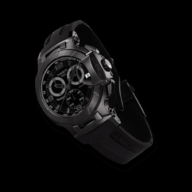 Herrenuhr Tissot T-Race Chronograph Gent mit schwarzem Zifferblatt und Kautschukarmband