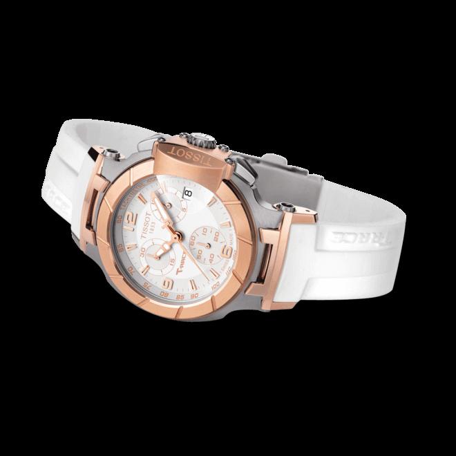 Damenuhr Tissot T-Race Chronograph Lady mit weißem Zifferblatt und Silikonarmband