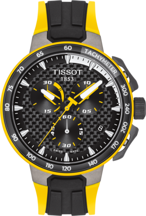 Herrenuhr Tissot T-Race Cycling Tour de France Special Edition mit schwarzem Zifferblatt und Silikonarmband