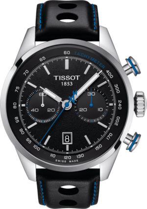 Herrenuhr Tissot V8 Alpine on Board Automatik Chrono mit schwarzem Zifferblatt und Rindsleder-Armband
