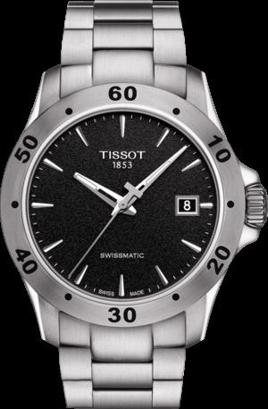 Herrenuhr Tissot V8 Swissmatic mit schwarzem Zifferblatt und Edelstahlarmband