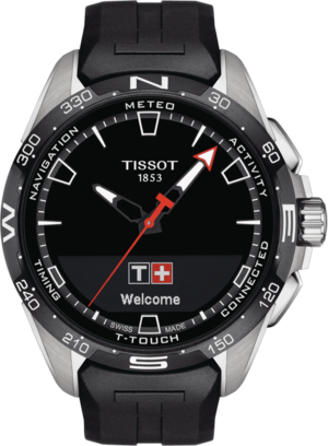 Herrenuhr Tissot Connect Solar mit schwarzem Zifferblatt und Kautschukarmband