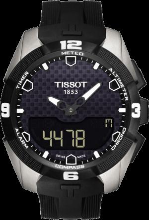 Herrenuhr Tissot T-Touch Expert Solar mit schwarzem Zifferblatt und Kautschukarmband
