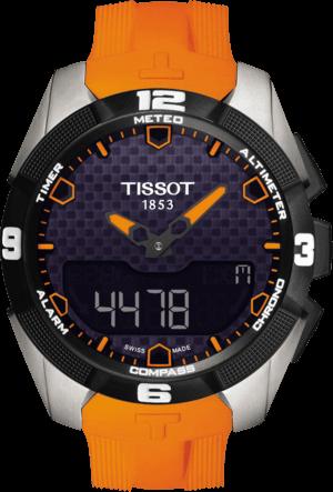 Herrenuhr Tissot T-Touch Expert Solar mit schwarzem Zifferblatt und Silikonarmband