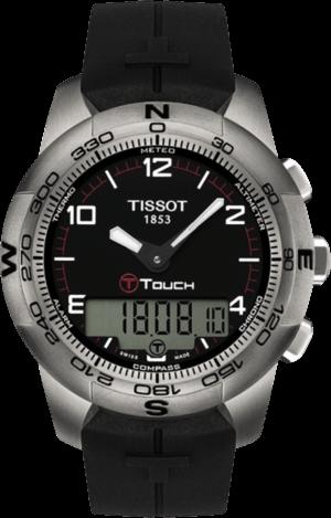 Herrenuhr Tissot T-Touch II Stainless Steel Gent mit schwarzem Zifferblatt und Kautschukarmband