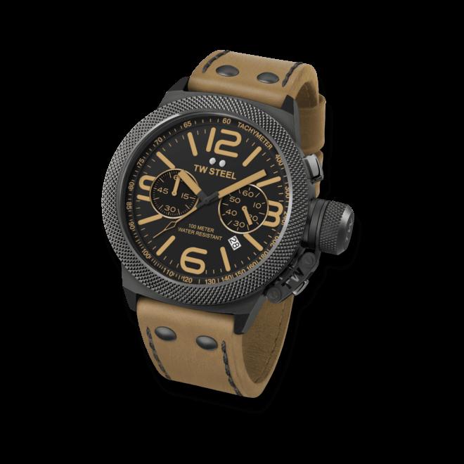 Herrenuhr TW Steel Canteen Quarz Chronograph mit schwarzem Zifferblatt und Kalbsleder-Armband