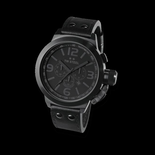 Herrenuhr TW Steel Canteen Quarz Chronograph mit schwarzem Zifferblatt und Rindsleder-Armband