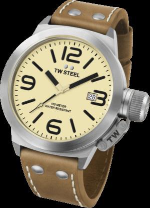 Herrenuhr TW Steel Canteen Quarz mit gelbem Zifferblatt und Kalbsleder-Armband