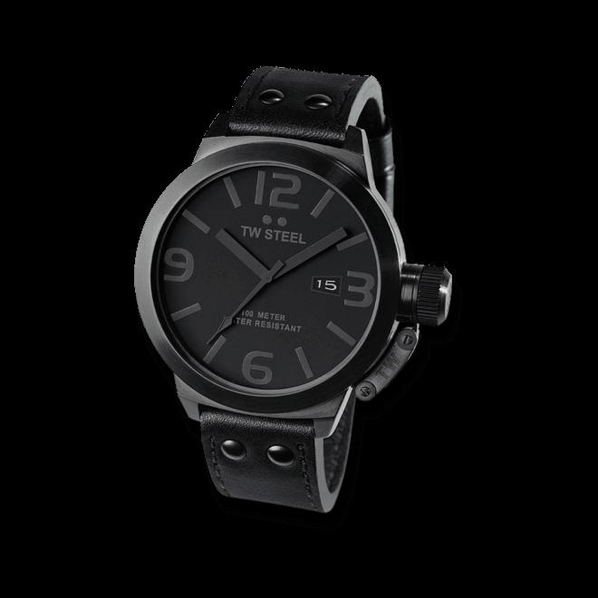 Herrenuhr TW Steel Canteen Quarz mit schwarzem Zifferblatt und Rindsleder-Armband