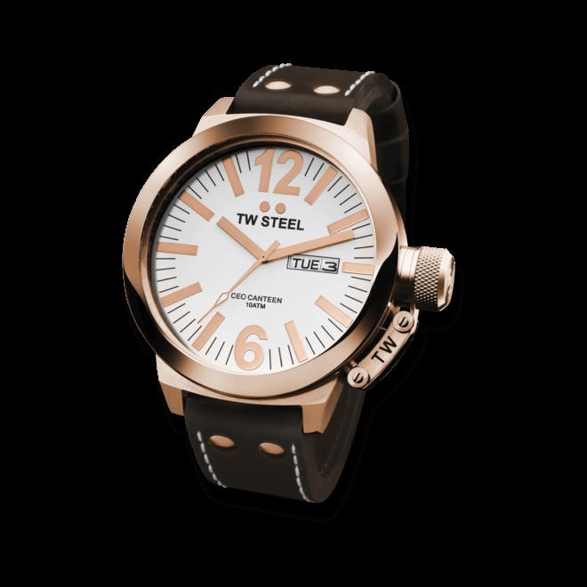 Herrenuhr TW Steel CEO Canteen 50mm mit weißem Zifferblatt und Kalbsleder-Armband