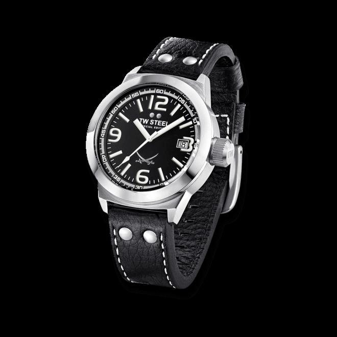Herrenuhr TW Steel Ceo Canteen Quarz 45mm mit schwarzem Zifferblatt und Rindsleder-Armband