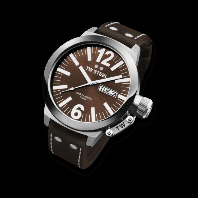 Herrenuhr TW Steel Ceo Canteen Quarz 45mm mit braunem Zifferblatt und Rindsleder-Armband