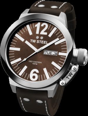 Herrenuhr TW Steel Ceo Canteen Quarz 50mm mit braunem Zifferblatt und Rindsleder-Armband