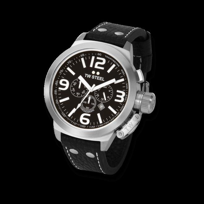Herrenuhr TW Steel Ceo Canteen Quarz Chronograph 50mm mit schwarzem Zifferblatt und Rindsleder-Armband