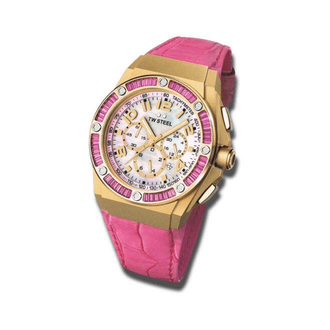 Damenuhr TW Steel Kelly Rowland Edition Pink mit perlmuttfarbenem Zifferblatt und Rindsleder-Armband