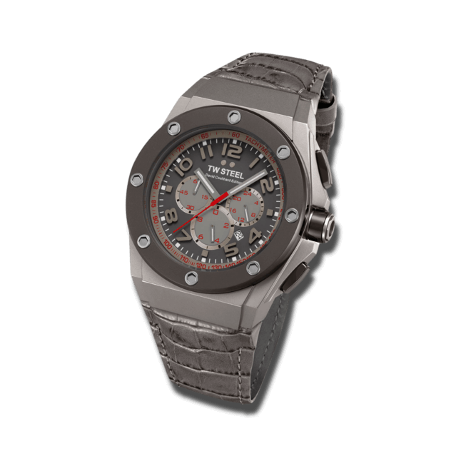 Herrenuhr TW Steel Ceo Tech Quarz Chronograph mit braunem Zifferblatt und Rindsleder-Armband