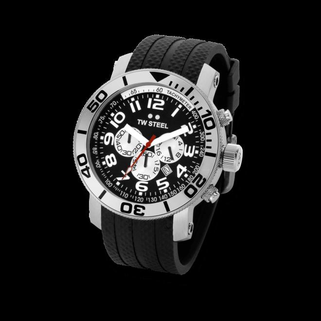 Herrenuhr TW Steel Grandeur Diver Quarz Chronograph mit Digitalanzeige und Kautschukarmband
