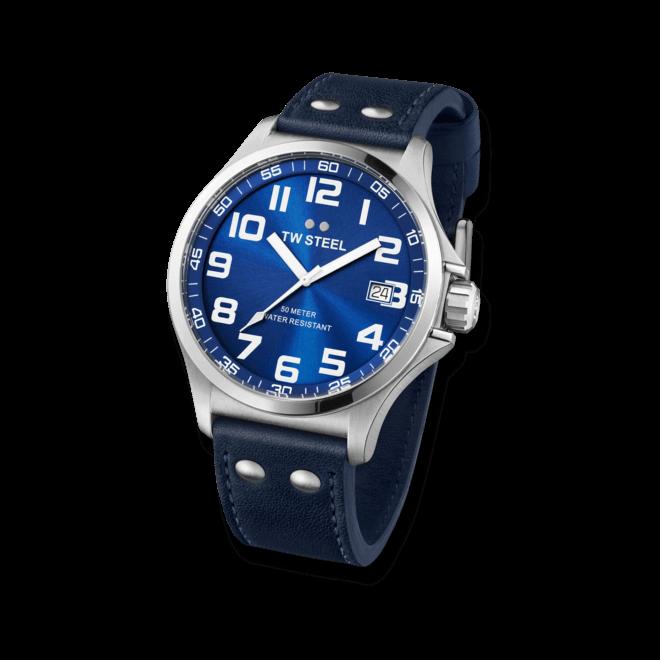 Herrenuhr TW Steel Pilot 45mm mit blauem Zifferblatt und Kalbsleder-Armband
