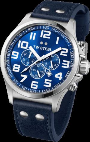 Armbanduhr TW Steel Pilot mit blauem Zifferblatt und Kalbsleder-Armband