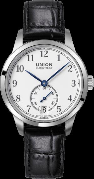 Damenuhr Union Glashütte 1893 Kleine Sekunde 34mm mit weißem Zifferblatt und Armband aus Kalbsleder mit Krokodilprägung