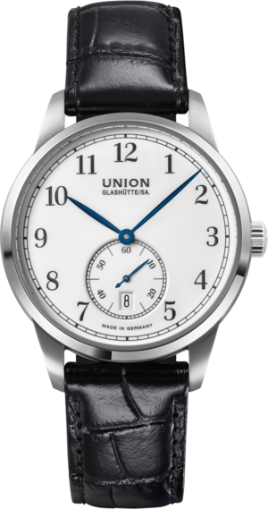 Herrenuhr Union Glashütte 1893 Kleine Sekunde 41mm mit weißem Zifferblatt und Armband aus Kalbsleder mit Krokodilprägung