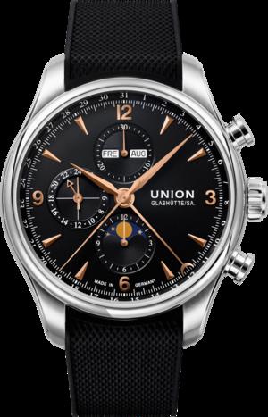 Herrenuhr Union Glashütte Belisar Automatik Chronograph 44mm mit schwarzem Zifferblatt und Kautschukarmband