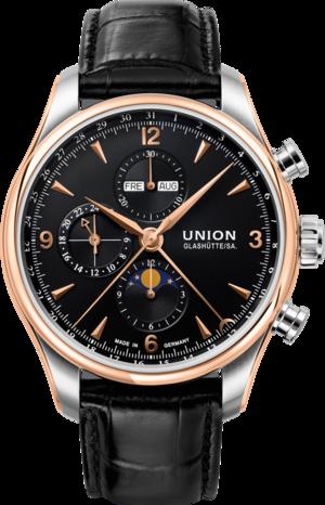 Herrenuhr Union Glashütte Belisar Automatik Chronograph 44mm mit schwarzem Zifferblatt und Armband aus Kalbsleder mit Krokodilprägung