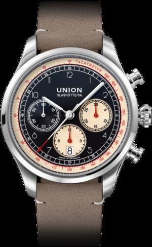 Herrenuhr Union Glashütte Belisar Chronograph mit schwarzem Zifferblatt und Kalbsleder-Armband