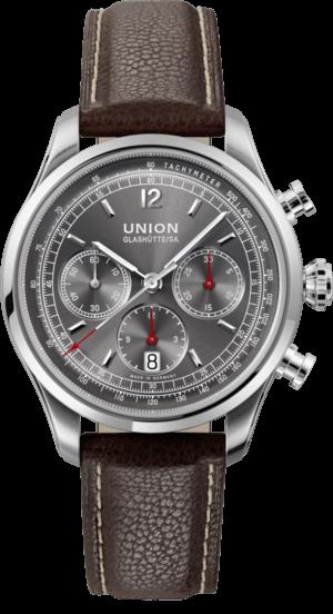 Herrenuhr Union Glashütte Belisar Chronograph mit anthrazitfarbenem Zifferblatt und Kalbsleder-Armband