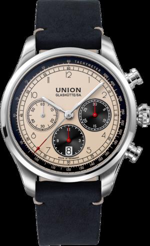 Herrenuhr Union Glashütte Belisar Chronograph mit elfenbeinfarbenem Zifferblatt und Kalbsleder-Armband