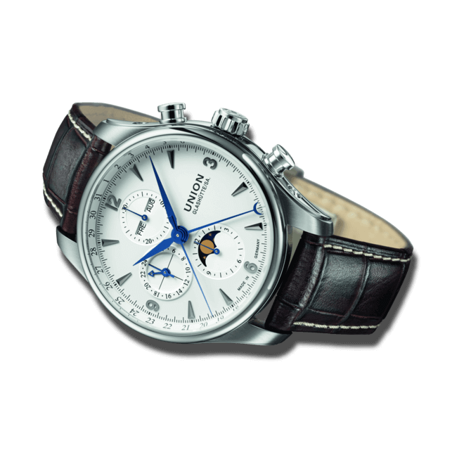 Herrenuhr Union Glashütte Belisar Chronograph Mondphase mit weißem Zifferblatt und Armband aus Kalbsleder mit Krokodilprägung