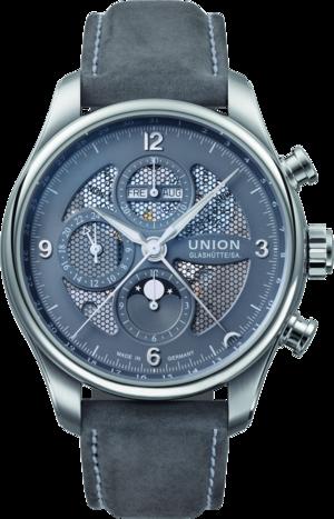 Herrenuhr Union Glashütte Belisar Chronograph Mondphase mit grauem Zifferblatt und Kalbsleder-Armband