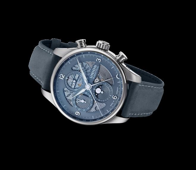 Herrenuhr Union Glashütte Belisar Chronograph Mondphase mit grauem Zifferblatt und Kalbsleder-Armband bei Brogle