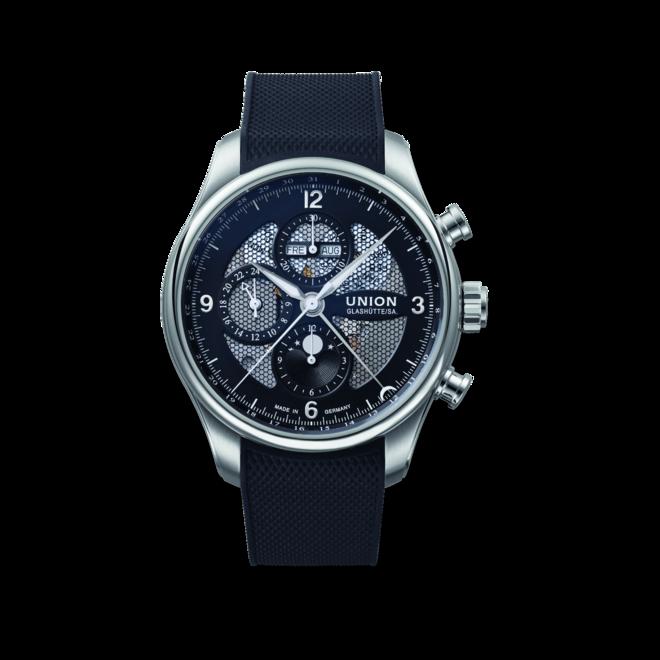 Herrenuhr Union Glashütte Belisar Chronograph Mondphase mit schwarzem Zifferblatt und Kautschukarmband bei Brogle