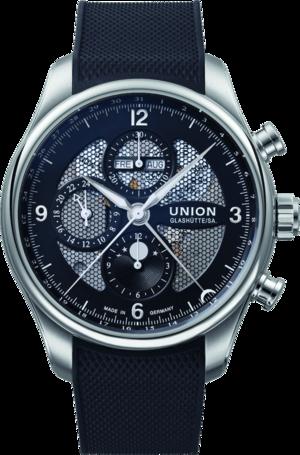 Herrenuhr Union Glashütte Belisar Chronograph Mondphase mit schwarzem Zifferblatt und Kautschukarmband