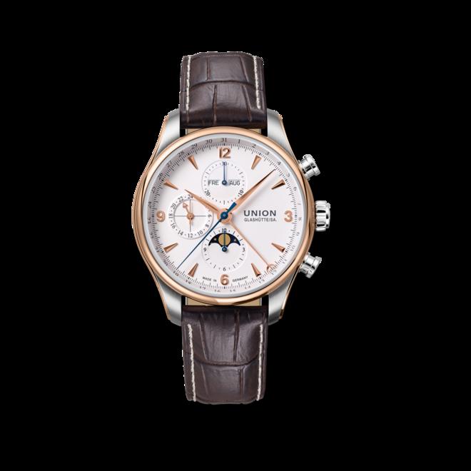 Herrenuhr Union Glashütte Belisar Chronograph Mondphase mit weißem Zifferblatt und Armband aus Kalbsleder mit Krokodilprägung bei Brogle