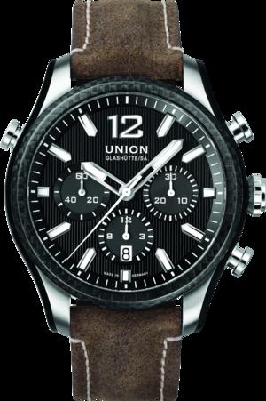 Herrenuhr Union Glashütte Belisar Chronograph Sport mit schwarzem Zifferblatt und Kalbsleder-Armband