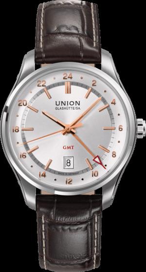 Herrenuhr Union Glashütte Belisar GMT mit silberfarbenem Zifferblatt und Armband aus Kalbsleder mit Krokodilprägung