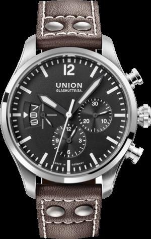 Herrenuhr Union Glashütte Belisar Pilot Chronograph mit schwarzem Zifferblatt und Kalbsleder-Armband